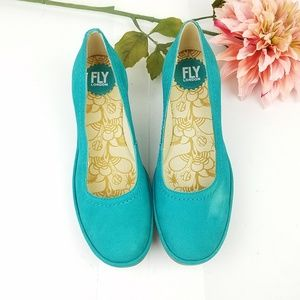 Fly London yoni turquoise wedge heels size 39